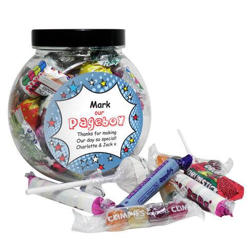 Personalised Comic Page Boy Sweet Jar
