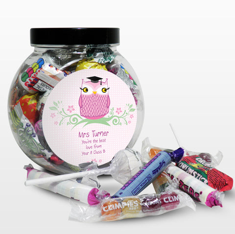Buy Personalised Miss Teacher Owl Sweet Jar