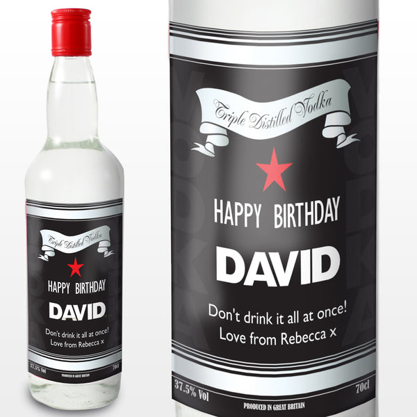 Personalised Classic Black & Silver Vodka - Shane Todd Gifts UK