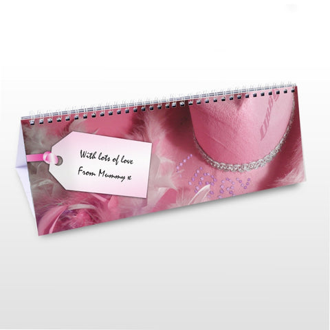 Buy Personalised Girls Pink Desk Calendar