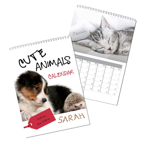 Personalised Cute Animals A4 Wall Calendar | ShaneToddGifts.co.uk