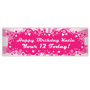 Personalised Retro Pink Banner