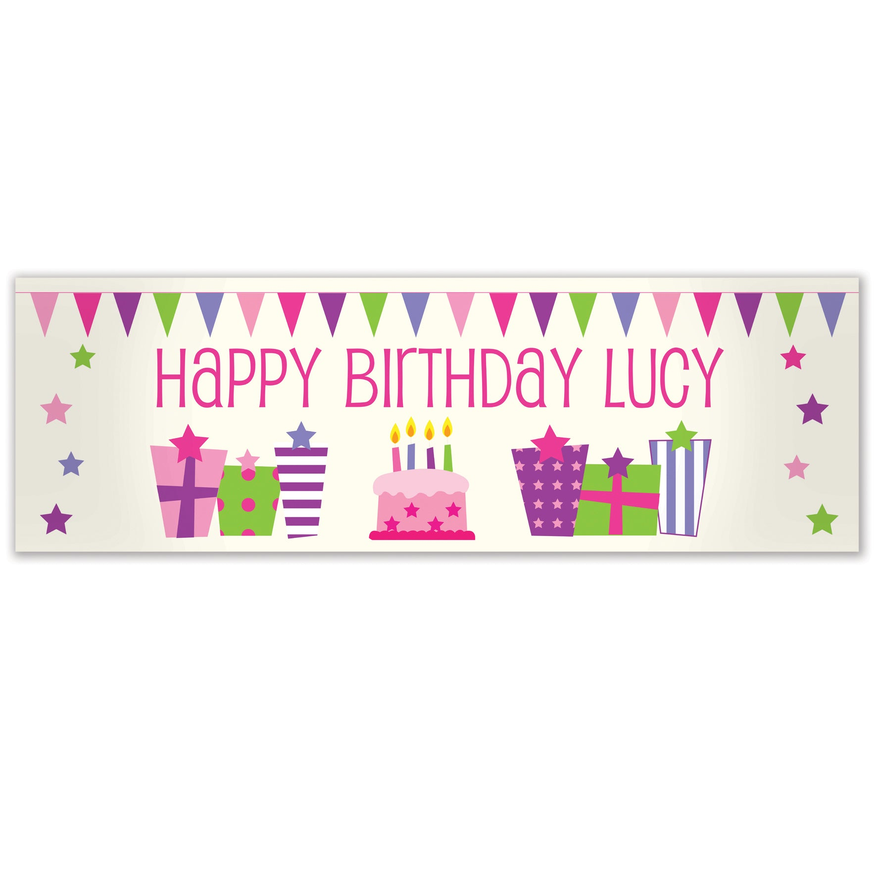 Personalised Female Presents Banner, Party Supplies by Low Cost Gifts
