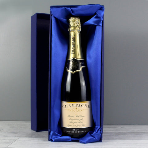 Personalised Any Message Classic Label Champagne Bottle with Box