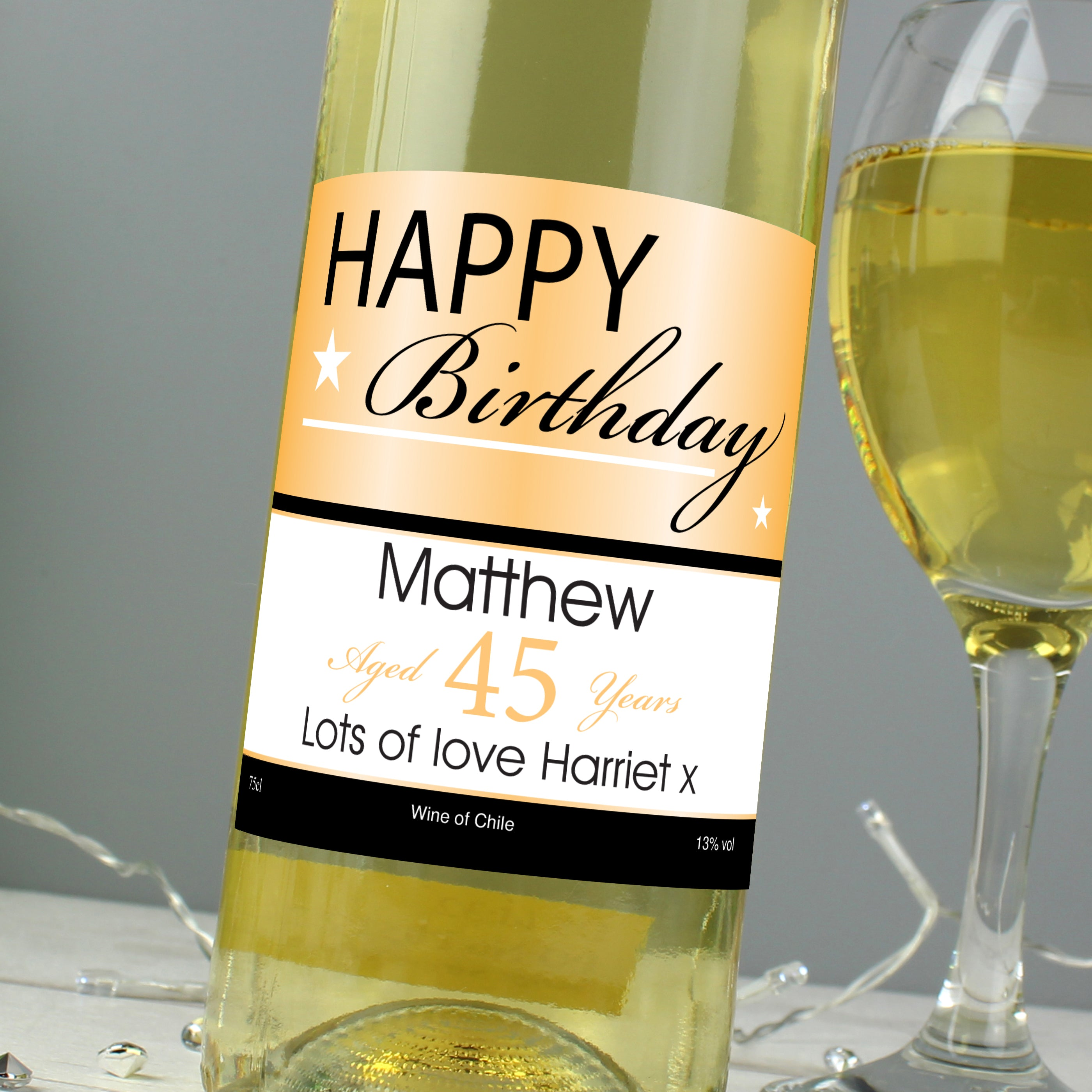 Personalised Happy Birthday White Wine, Alcoholic Beverages by Low Cost Gifts