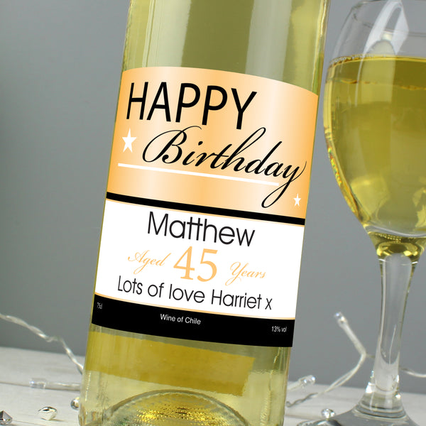 Personalised Happy Birthday White Wine