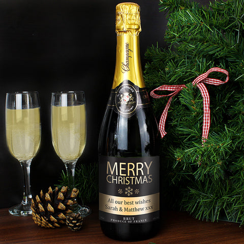 Personalised Merry Christmas Champagne