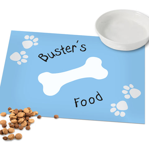 Personalised Blue Paw Print Dog Placemat | ShaneToddGifts.co.uk