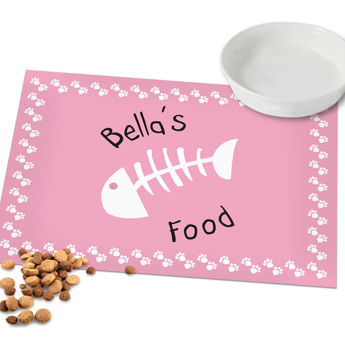 Personalised Pink Fish Bone Cat Placemat, Animals & Pet Supplies by Low Cost Gifts