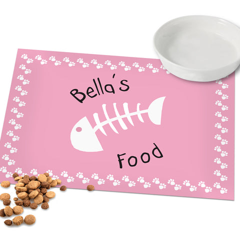 Buy Personalised Pink Paw Print Cat Placemat