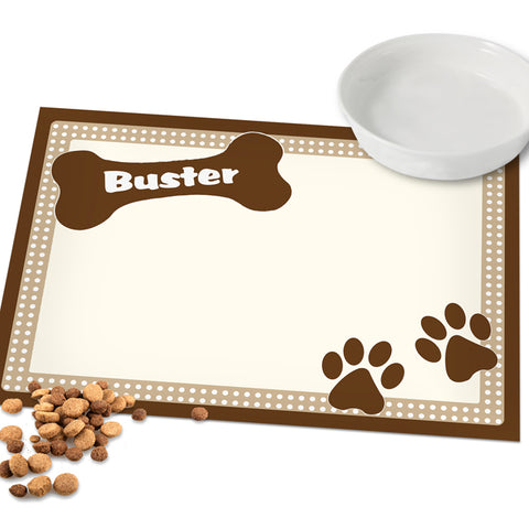 Personalised Brown Dotty Dog Placemat | ShaneToddGifts.co.uk