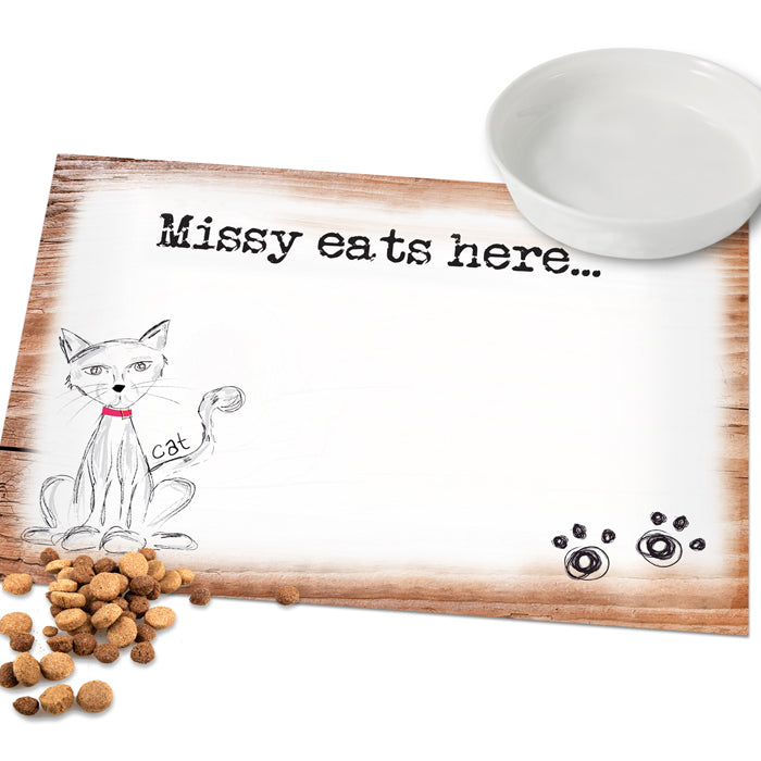 Personalised Scribble Cat Placemat, Pet Supplies by Low Cost Gifts
