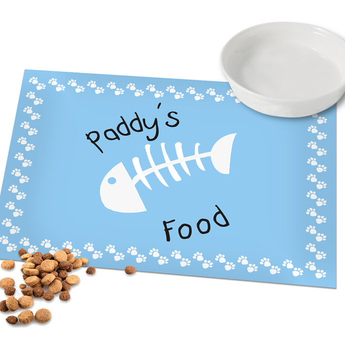 Personalised Blue Fish Bone Cat Placemat, Cat Supplies by Low Cost Gifts