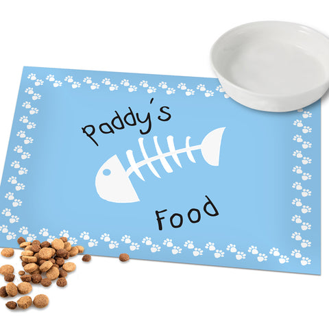 Buy Personalised Blue Paw Print Cat Placemat