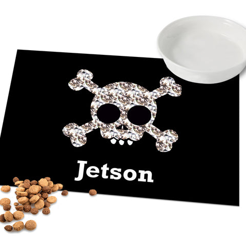 Buy Personalised Skull and Crossbones Pet Placemat