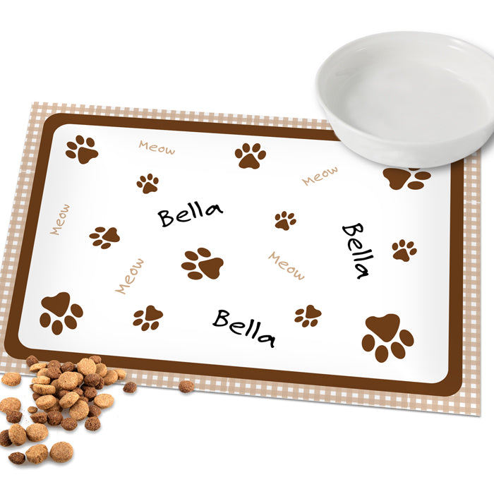 Personalised Brown Gingham Cat Placemat, Cat Supplies by Low Cost Gifts
