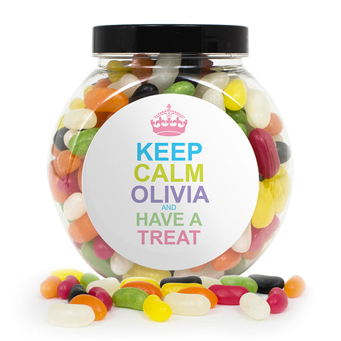 Buy Personalised Keep Calm Jelly Beans Sweet Jar