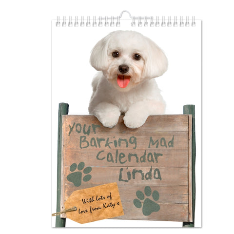 Personalised Your Barking Mad A4 Wall Calendar | ShaneToddGifts.co.uk