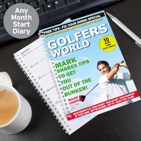 Personalised Golfers World A5 Diary | ShaneToddGifts.co.uk
