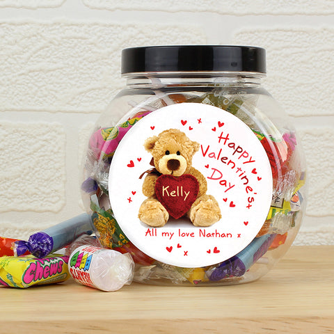 Buy Personalised Teddy Heart Sweet Jar