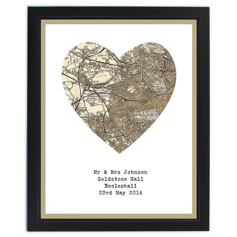 Buy Personalised 1896 - 1904 Revised Map Heart Framed Print