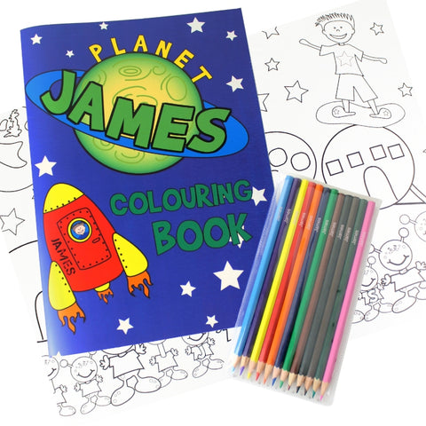 Buy Personalised Space Colouring Book with Pencil Crayons