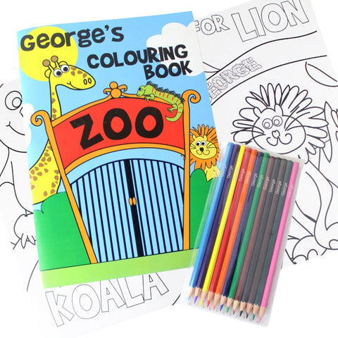 Buy Personalised Zoo Colouring Book with Pencil Crayons