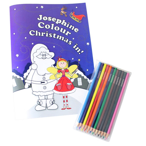 Buy Personalised 'It's Christmas' Fairy Colouring Book with Pencil Crayons