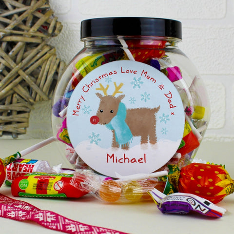 Personalised Felt Stitch Reindeer Sweet Jar | ShaneToddGifts.co.uk