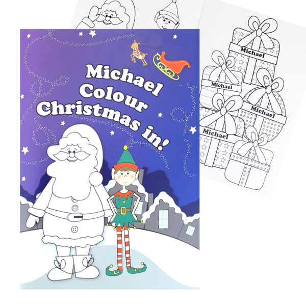 personalised-its-christmas-elf-colouring-book