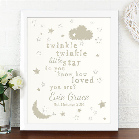 Buy Personalised Twinkle Twinkle Poster White Frame