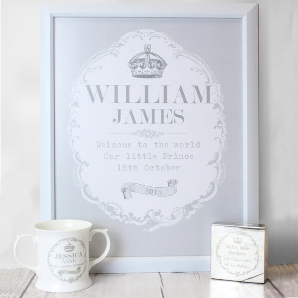 personalised-royal-crown-white-poster-frame