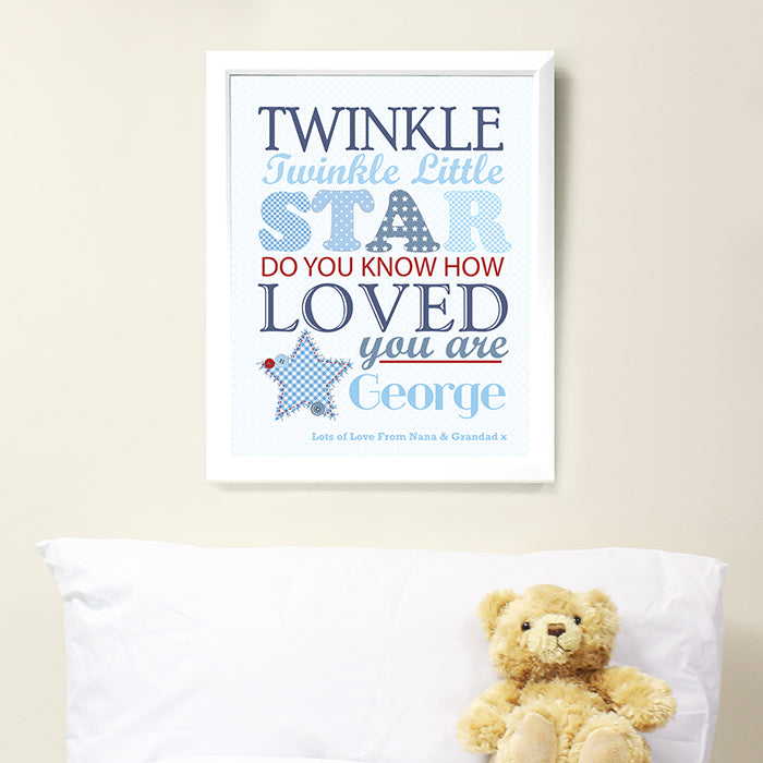 Personalised Twinkle Boys Poster White Frame