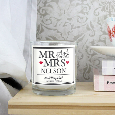 Mr & Mrs Scented Jar Candle | ShaneToddGifts.co.uk