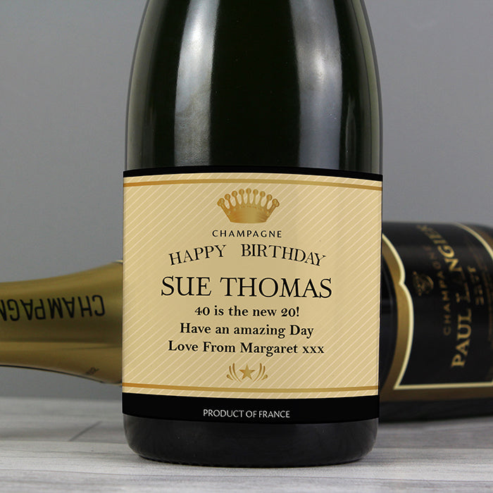 Personalised Crown Champagne, Beverages by Low Cost Gifts