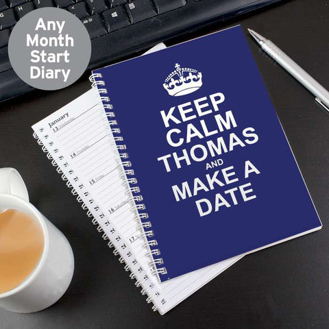 Personalised Keep Calm Blue A5 Diary | ShaneToddGifts.co.uk
