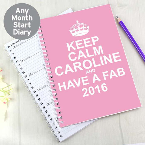 Personalised Keep Calm Pink A5 Diary | ShaneToddGifts.co.uk