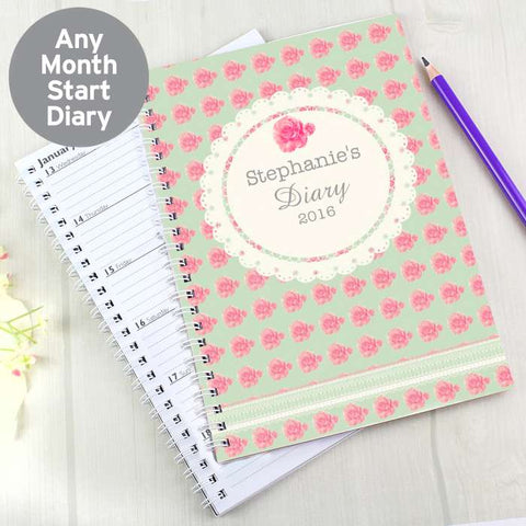 Personalised Vintage Rose A5 Diary | ShaneToddGifts.co.uk
