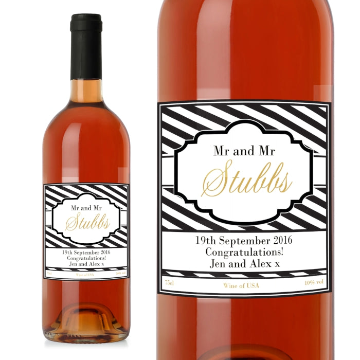 Personalised Art Deco Striped Rose Wine, Food, Beverages & Tobacco by Low Cost Gifts