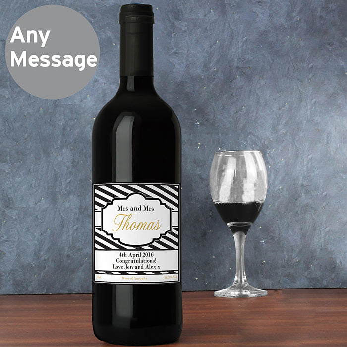 Personalised Art Deco Striped Red Wine, Wine - Image 2