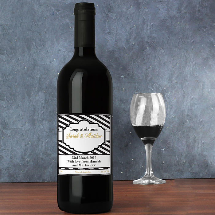 Personalised Art Deco Striped Red Wine, Wine - Image 3