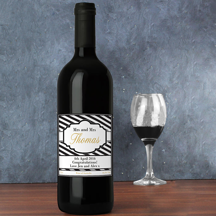 Personalised Art Deco Striped Red Wine, Wine - Image 4