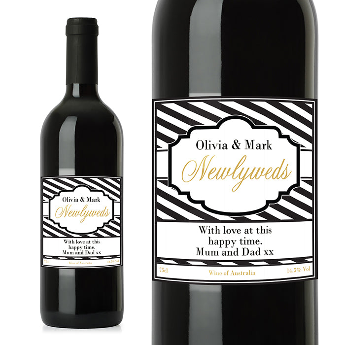 Personalised Art Deco Striped Red Wine, Wine - Image 0
