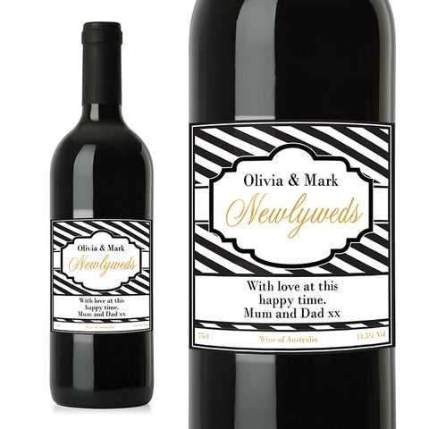 Personalised Art Deco Striped Red Wine