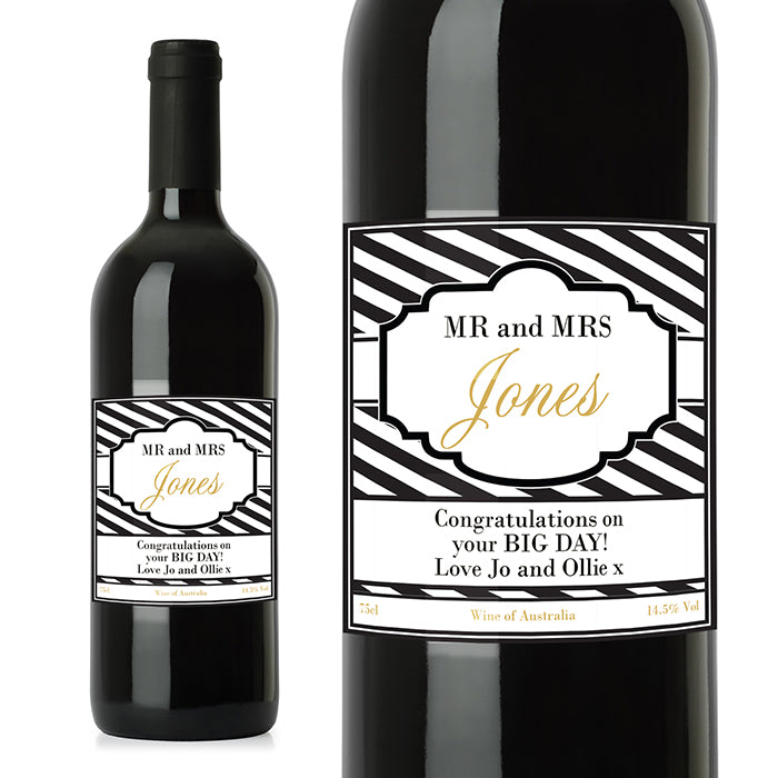 Personalised Art Deco Striped Red Wine, Wine - Image 1