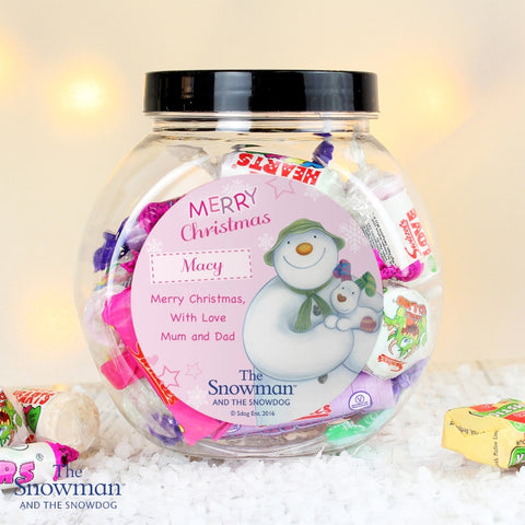 Buy Personalised The Snowman and the Snowdog Pink Sweet Jar