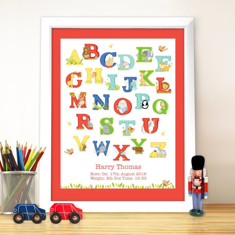 Buy Personalised Animal Alphabet White Poster Frame