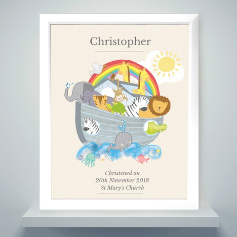 Personalised Noah's Ark White Poster Frame | ShaneToddGifts.co.uk