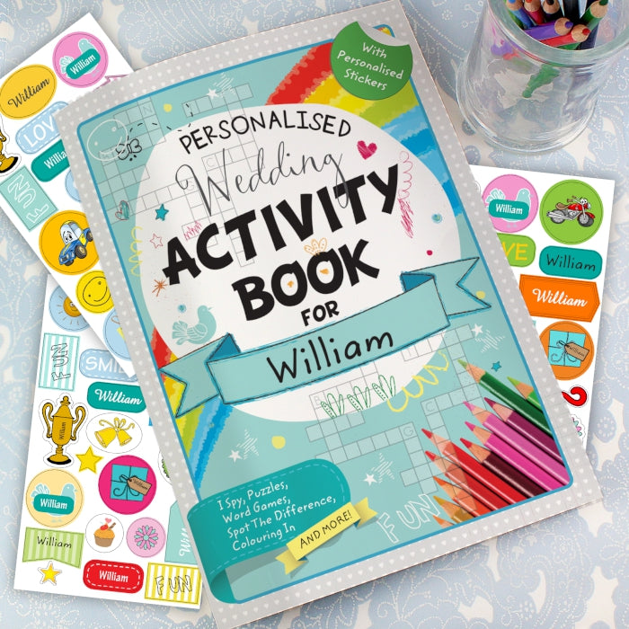 Personalised Wedding Activity Book with Stickers, Art & Crafting Materials by Gifts24-7