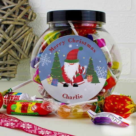 Buy Personalised Tartan Santa Sweet Jar